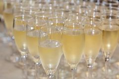 Champagne Filled Glasses stock photos