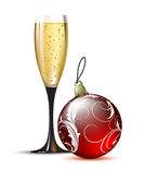 Champagne with fir ball. Chmpagne with red fir ball, this illustration may be usefull as designer work Royalty Free Stock Photography