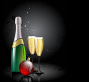 Champagne with fir ball. This illustration may be usefull as designer work Stock Images