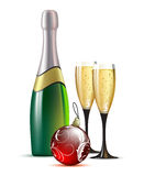 Champagne with fir ball. Bottle of champagne, two glasses and fir  ball, this illustration may be usefull as designer work Stock Photo