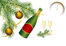 Champagne and fir, cdr vector Royalty Free Stock Images