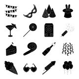Champagne, firecrackers, cake items for the holiday.Party And Parties set collection icons in black style vector symbol. Stock illustration Stock Photo