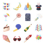 Champagne, firecrackers, cake items for the holiday.Party And Parties set collection icons in cartoon style vector. Symbol stock illustration Royalty Free Stock Image