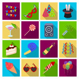 Champagne, firecrackers, cake items for the holiday.Party And Parties set collection icons in flat style vector symbol. Stock illustration Royalty Free Stock Photo
