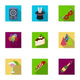 Champagne, firecrackers, cake items for the holiday.Party And Parties set collection icons in flat style vector symbol. Stock illustration Royalty Free Stock Image