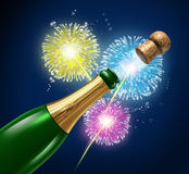 Champagne Fireworks Celebration. Champagne fireworks display celebration with flying cork explosion as a symbol of cheerful event and party with happiness for an Stock Photo