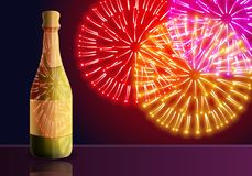 Champagne fireworks concept banner, cartoon style royalty free illustration