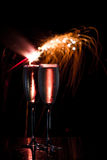 Champagne and fireworks Royalty Free Stock Images