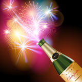 Champagne and fireworks. New Year fireworks and champagne. Vector illustration Stock Photos