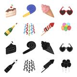 Champagne, fireworks and other accessories at the party.Party and partits set collection icons in black,cartoon style. Vector symbol stock illustration Royalty Free Stock Images