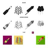 Champagne, fireworks and other accessories at the party.Party and partits set collection icons in black, flat. Monochrome style vector symbol stock Royalty Free Stock Images