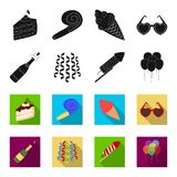 Champagne, fireworks and other accessories at the party.Party and partits set collection icons in black,flet style. Vector symbol stock illustration Stock Photography
