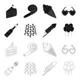 Champagne, fireworks and other accessories at the party.Party and partits set collection icons in black,outline style. Vector symbol stock illustration Royalty Free Stock Images