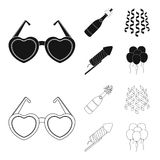 Champagne, fireworks and other accessories at the party.Party and partits set collection icons in black,outline style. Vector symbol stock illustration Stock Image