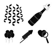 Champagne, fireworks and other accessories at the party.Party and partits set collection icons in black style vector. Symbol stock illustration Royalty Free Stock Photos