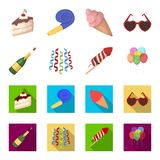Champagne, fireworks and other accessories at the party.Party and partits set collection icons in cartoon,flat style. Vector symbol stock illustration Royalty Free Stock Images