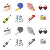 Champagne, fireworks and other accessories at the party.Party and partits set collection icons in cartoon,monochrome. Style vector symbol stock illustration Royalty Free Stock Photos
