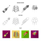 Champagne, fireworks and other accessories at the party.Party and partits set collection icons in flat,outline. Monochrome style vector symbol stock Royalty Free Stock Photo