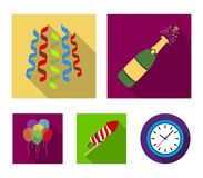 Champagne, fireworks and other accessories at the party.Party and partits set collection icons in flat style vector. Symbol stock illustration Royalty Free Stock Photos