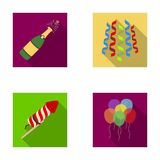 Champagne, fireworks and other accessories at the party.Party and partits set collection icons in flat style vector Royalty Free Stock Photography