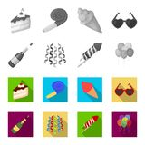 Champagne, fireworks and other accessories at the party.Party and partits set collection icons in monochrome,flat style. Vector symbol stock illustration Royalty Free Stock Image