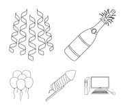 Champagne, fireworks and other accessories at the party.Party and partits set collection icons in outline style vector. Symbol stock illustration Stock Photos