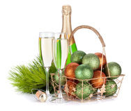 Champagne, firtree and christmas decor Stock Photography
