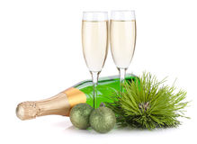 Champagne, firtree and christmas decor Royalty Free Stock Photography