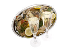 Champagne with fish plate Stock Photography