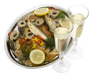 Champagne with fish plate Stock Image