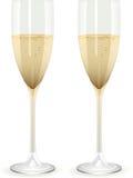 Champagne-Flöten auf einem weißen Hintergrund Lizenzfreie Stockbilder