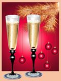 Champagne-Flöten und Weihnachtsbaum lizenzfreie abbildung