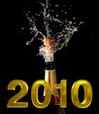 Champagne-Flasche mit shotting Korken Stockfotografie