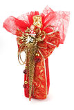 Champagne-Flasche mit Weihnachtsverpackung Lizenzfreie Stockfotografie