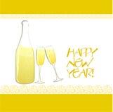Champagne-Flasche und Gläser Lizenzfreies Stockbild