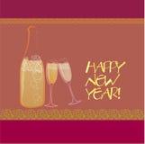 Champagne-Flasche und Gläser Stockbild
