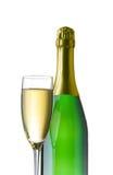 Champagne-Flasche und Glas Lizenzfreie Stockfotos