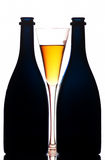 Champagne-Flaschen und Glas Stockfoto