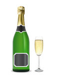 Champagne. Fles en glas. Vector Illustratie