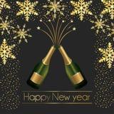 Champagne-flessen met vlokken en sterrendecoratie aan nieuw jaar stock illustratie