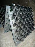 Champagne-flessen in Schramsberg-kelder tijdens het doorzeven worden opgeslagen die Stock Foto's
