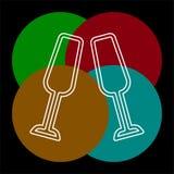 Champagne-flessenpictogram - drankalcohol royalty-vrije illustratie