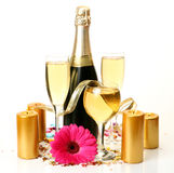 Champagne and flower Royalty Free Stock Image