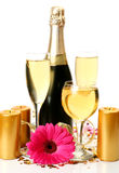 Champagne and flower Stock Photography