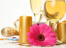Champagne and flower Royalty Free Stock Images