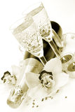 Champagne and flowers Royalty Free Stock Photography