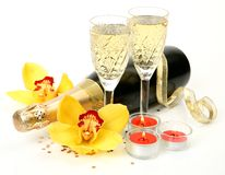 Champagne and flowers Royalty Free Stock Images