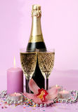 Champagne and flowers Stock Photo