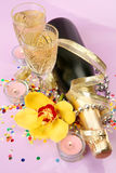 Champagne and flowers Stock Photography