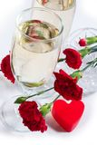 Champagne, flowers and heart Royalty Free Stock Image